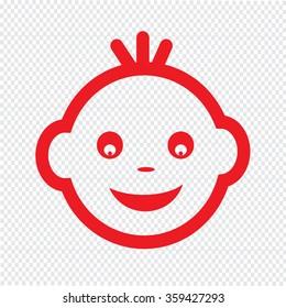 Baby Face Emotion Icon Illustration symbol design