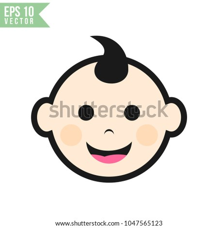 Baby Face Flat Icon Vector Template