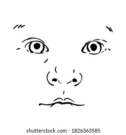 Baby face isolated vector drawing, Portrait of adorable infant looking straight. Hand drawn illustration, Black pen sketch on white background