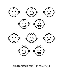 baby faces expressions Icon Outline Vector