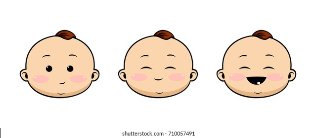 Baby faces set. Vector illustration