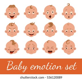 Baby facial expression isolated icons on white background. Cute color vector illustration of boy baby faces showing different emotions: smiling, sad, surprised, crying, shy, laugh happy in flat style.