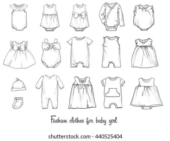 baby fashion, baby clothing set vector illustration,  clothes Baby girls, sketch clothing, baby body illustration