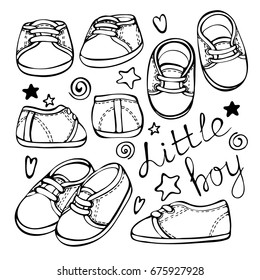 Baby fashion shoes. Sketch hand drawn set of pair of kids shoes isolated on white background.