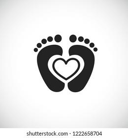 baby feet footprint with heart vector illustraton