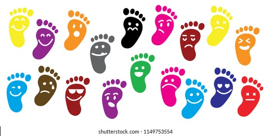Baby feet footprints Vector born icon Smile emoticons emoji human shoes shoe sole funny foot footsteps color people colour follow child baby vector steps sign print fun funny newborn imprint health
