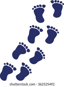Baby feet - footprints walking