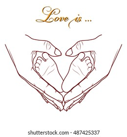 Baby feet in the hands of mom/ Hand drawing vector illustration