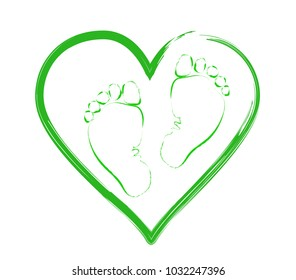 baby feet on the background of the heart. The concept of love, protection and motherhood. Children Protection Day.