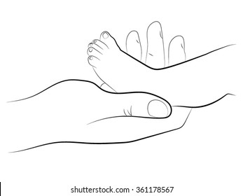 Baby feet. A woman holding the heel of the baby, adult hand holding a small child by the leg. Pencil drawing on heel kid. Drawn by hand scribble black and white cartoon