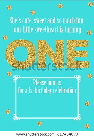 Baby First Birthday Card One Year Stock Vector Royalty Free
