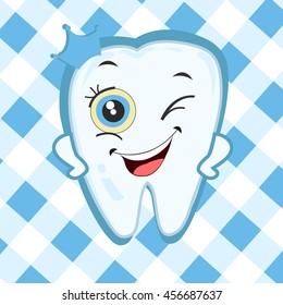 Baby first tooth for boys. Tooth with crown vector illustration