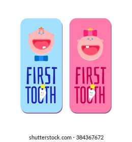 Baby first tooth for boys and girls banners with greetings. Kids smile tooth with crown dental emblem. Flat children faces. Medic vector illustration.