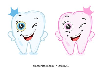 Baby first tooth for boys and girls. Tooth part vector