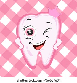 Baby first tooth for girls. Tooth with crown vector illustration