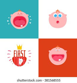Baby First tooth Vector Illustration with kids expression set.  Crying and laughing baby with first tooth. Children Tooth greetings cards. Flat icons for baby teeth, baby first tooth,  milk teeth