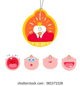 Baby First tooth Vector Illustration with kids expression set.  Crying and laughing baby with first tooth. Children Tooth greetings card. Flat icons for teeth medicine and healthy lifestyle.