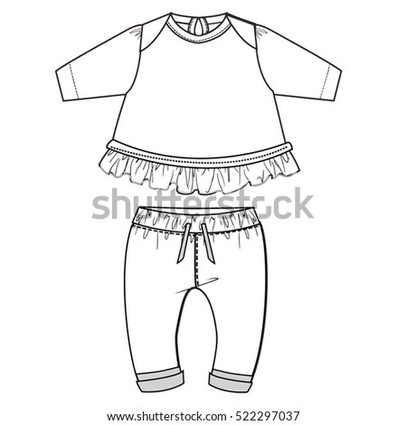 Baby Flat Sketch Template Isolated Stock Vector (Royalty Free ...