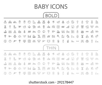 Baby flat vector related icon set for web and mobile applications. It can be used as - logo, pictogram, icon, infographic element. Vector Illustration.