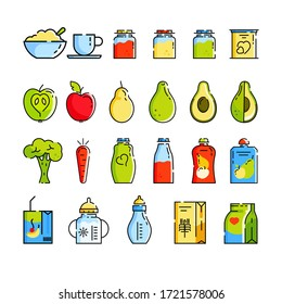 Baby food. Milk, milk mixture, cereal, juices, jars of mashed potatoes, carrots, apples, bananas, avacados. Set of icons in a flat style. Design concept for magazine, brochure web