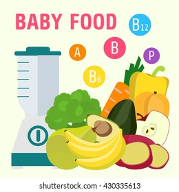 Baby food poster. A healthy diet and vitamins for children.Vector illustration.
