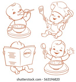 Baby food. Set of vector illustrations with cute little babies. Boy at table eating porridge, kid in diaper reading menu, child wearing cook hat. Healthy food emblem. Monochrome vector illustration