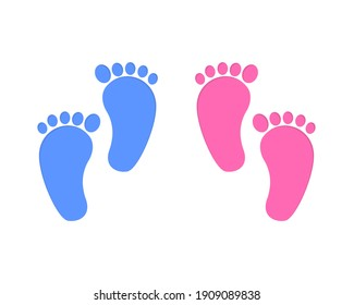 Baby foot print isolated on white background. Little boy and girl feet. Design elements for greeting card and invitations, nursery decor, photoshoot. Vector flat illustration.