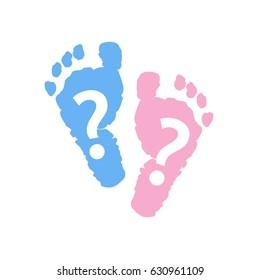 Baby foot prints. Baby gender reveal symbol