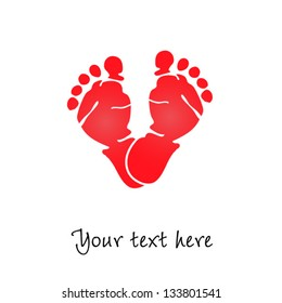 Baby foot prints love, vector illustration