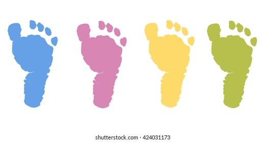 Baby foot prints pastel color vector