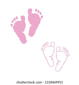 Baby foot prints. Pink colored with Baby girl baby girl foot prints