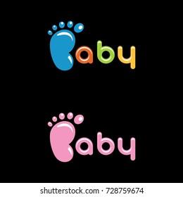 Baby foot vector logo, Baby logo