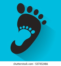 baby footprint in adult foot icon. Kids shoes store icon. Family sign. Parent and child symbol. Adoption emblem. Charity campaign. Vector illustration