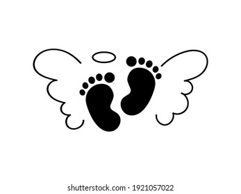 Baby footprint with angel wings. Vector stock  illustration for poster or banner.