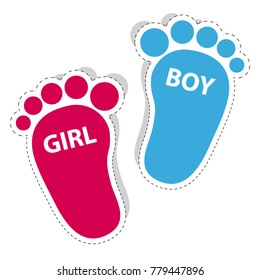 Baby Footprint - Girl And Boy Outline Icons With Shadow