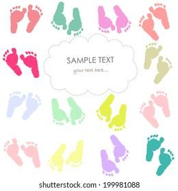 Baby footprint kids greeting card vector