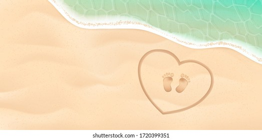 Baby footprint on the sea shore. Background with feet, sand, water. Vector illustration. Beach baby footprint in the heart and sea vector illustration.