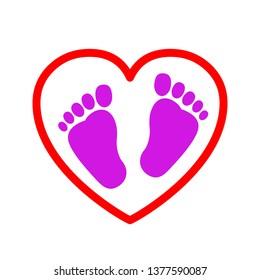 Baby footprints in heart icon - vector
