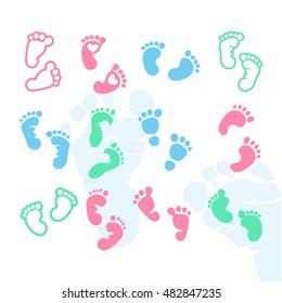 Baby Footprints Icon Vector Graphics