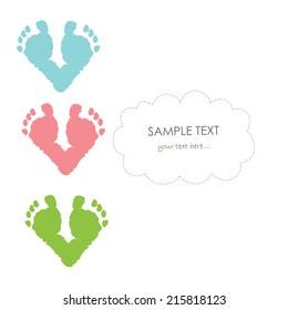 Baby footprints vector greeting card