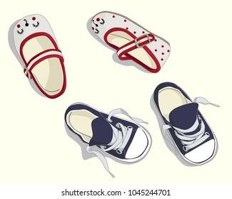 baby footwear drawing by handmade