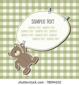 Baby frame with teddy bear, vector