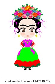 baby Frida Kahlo with crown of colorful flowers, Kokeshi doll style, cartoon doll in typical ethnic Mexican clothes for children, vector isolated
