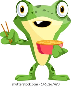 Baby frog eating noodles with a chopsticks, illustration, vector on white background.