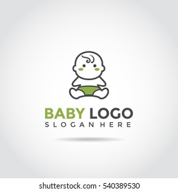 Baby funny logo template. black and green logo for business and industrial. Vector Illutrator eps.10