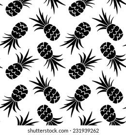 Baby funny seamless pattern with silhouettes fruits pineapples in black and white. Hand drawn repeating background. Tropical tiling texture. Cloth art design