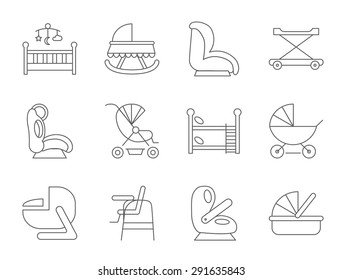 Baby furniture thin line flat vector related icon set for web and mobile applications. It can be used as - logo, pictogram, icon, infographic element. Vector Illustration.