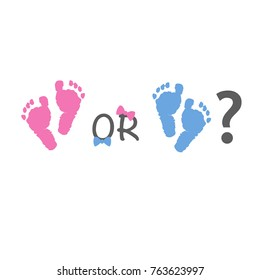 Baby gender reveal. Pink and blue baby foot prints