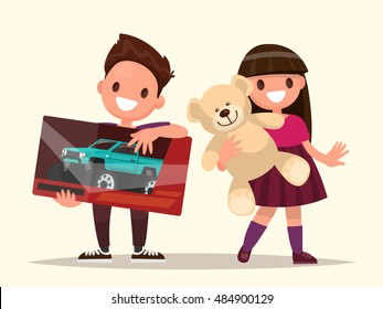 Baby gifts. Children with toys. Vector illustration of a flat design