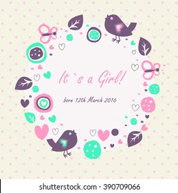 Baby girl announcement banner with cute birds, butterflies, hearts, leaves and abstract elements